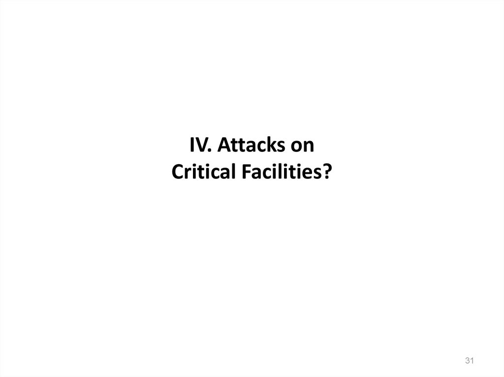 IV. Attacks on Critical Facilities?