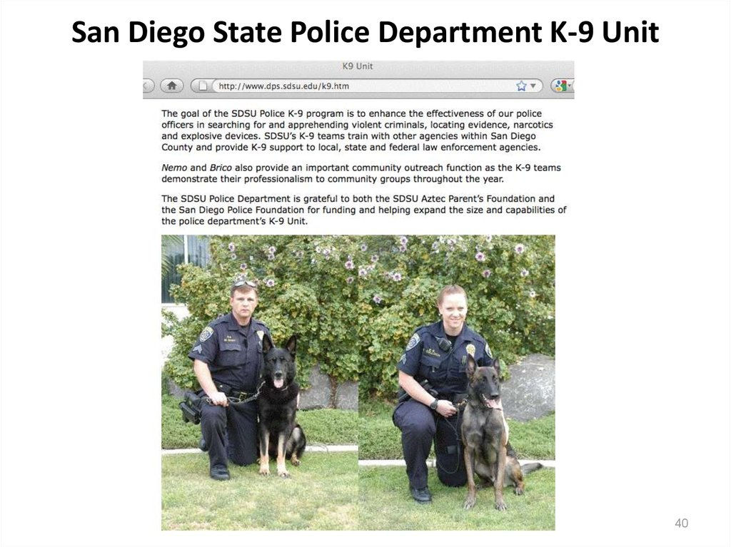 San Diego State Police Department K-9 Unit