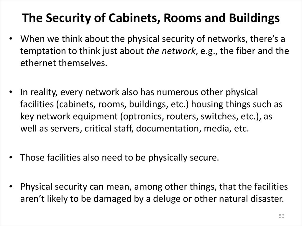 The Security of Cabinets, Rooms and Buildings