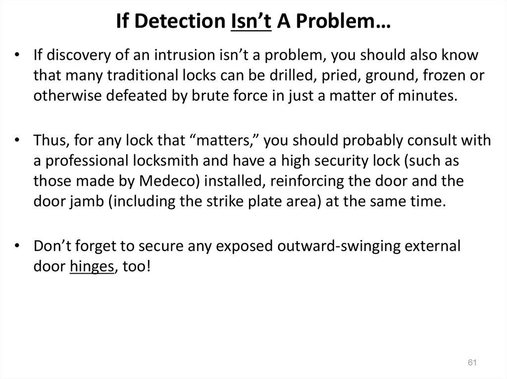 If Detection Isn't A Problem…