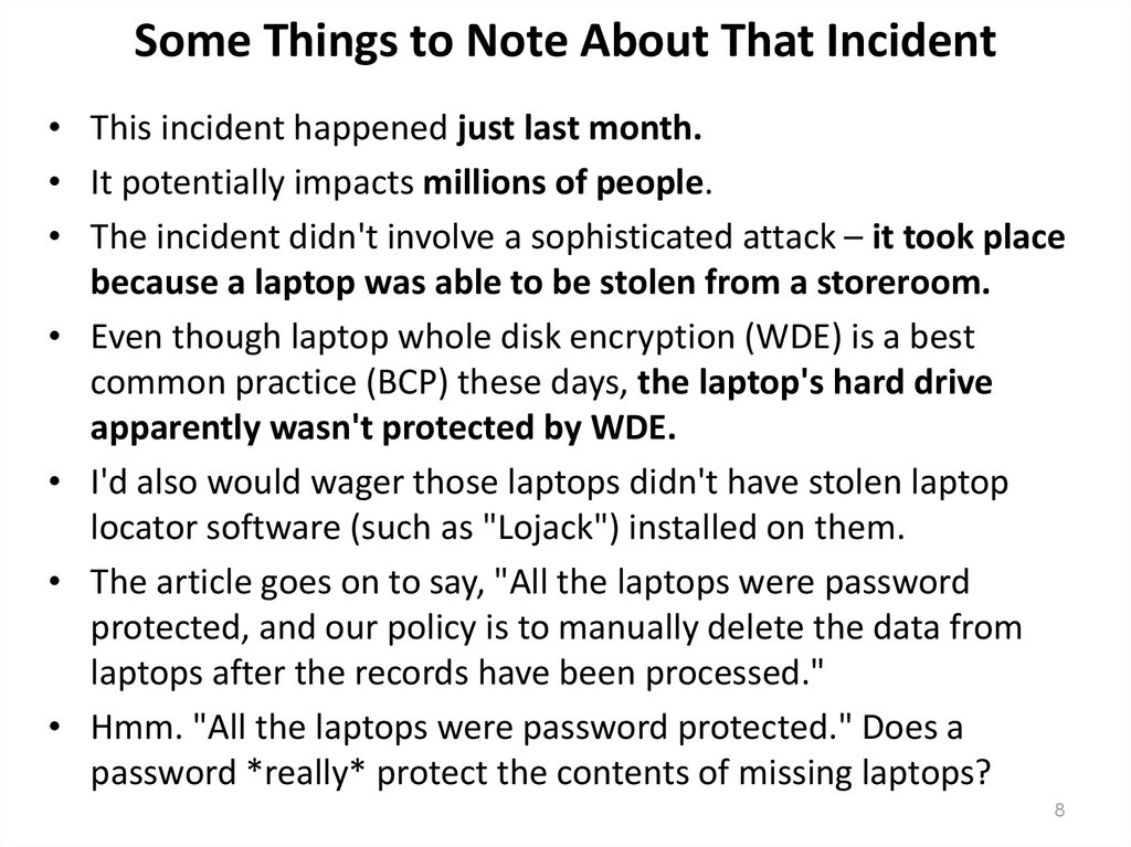 Some Things to Note About That Incident