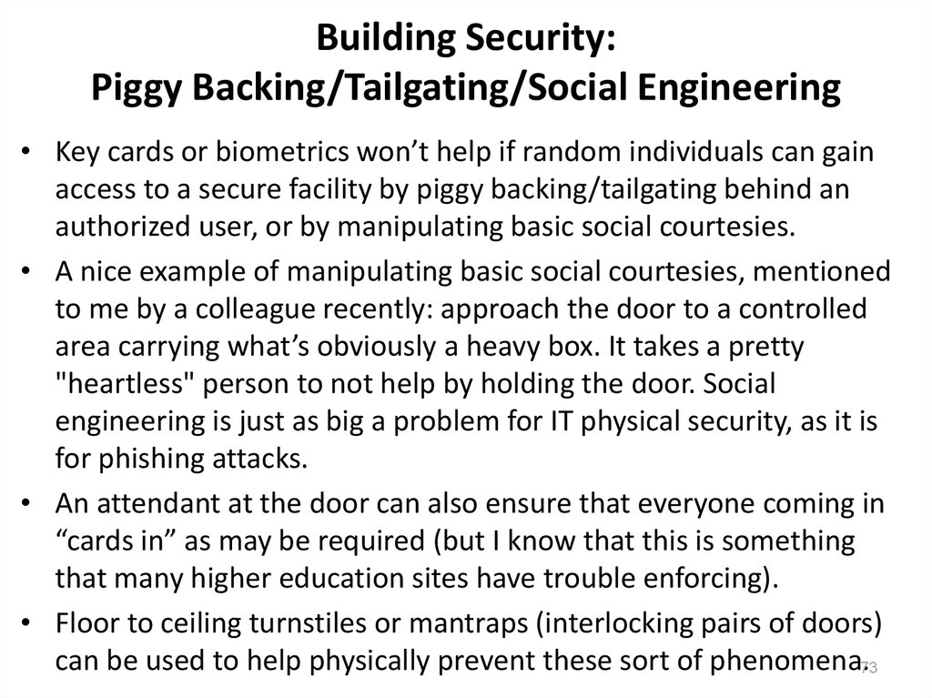 Building Security: Piggy Backing/Tailgating/Social Engineering