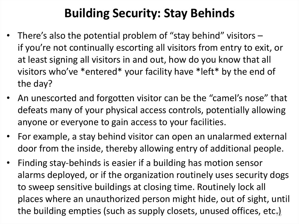 Building Security: Stay Behinds