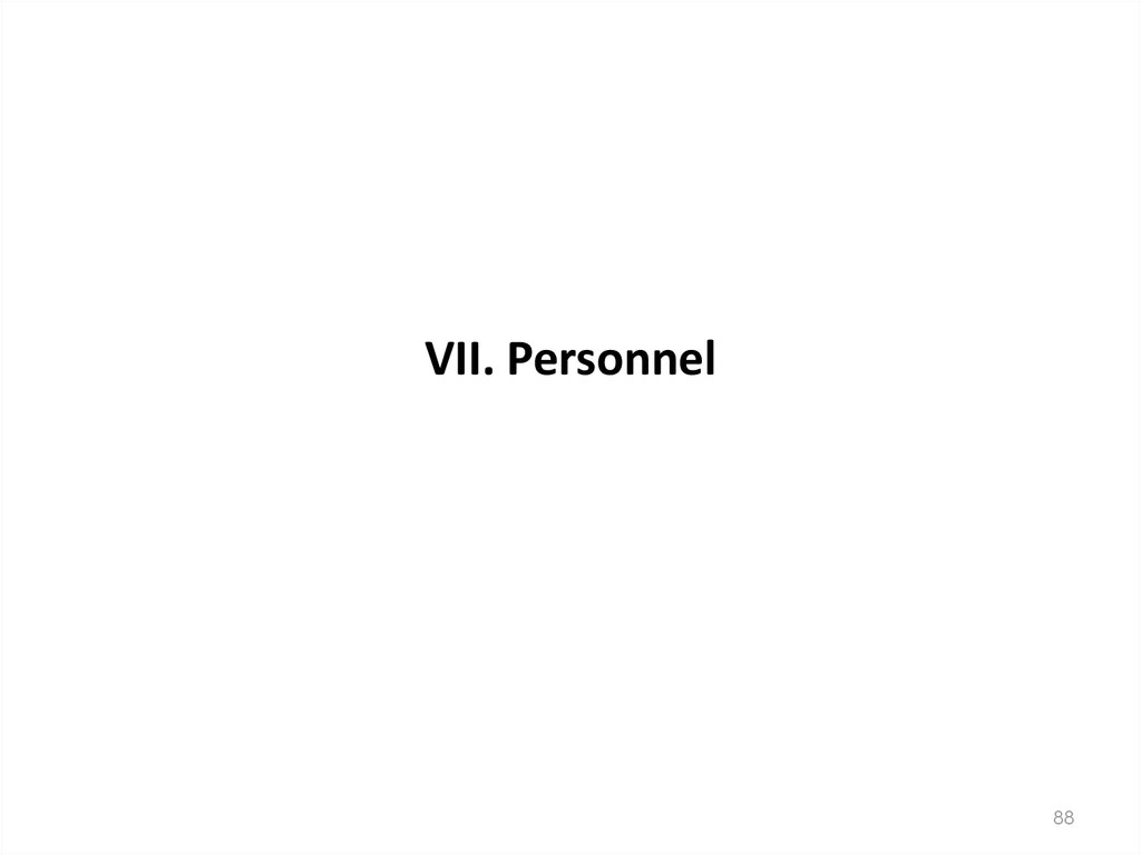 VII. Personnel