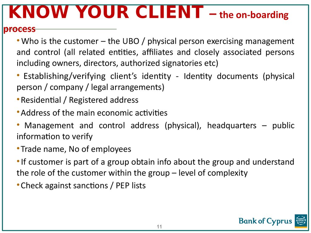 KNOW YOUR CLIENT – the on-boarding process