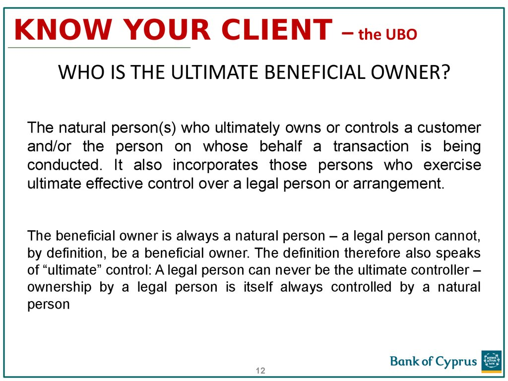 KNOW YOUR CLIENT – the UBO