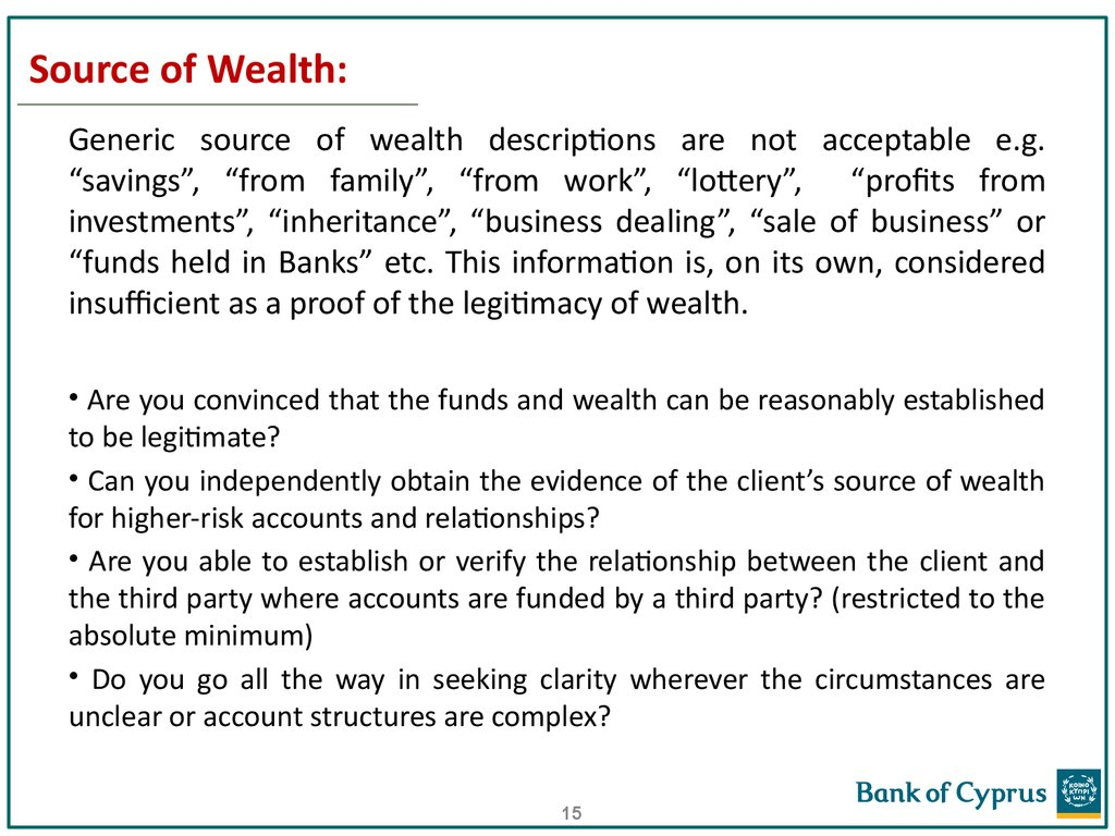 Source of Wealth: