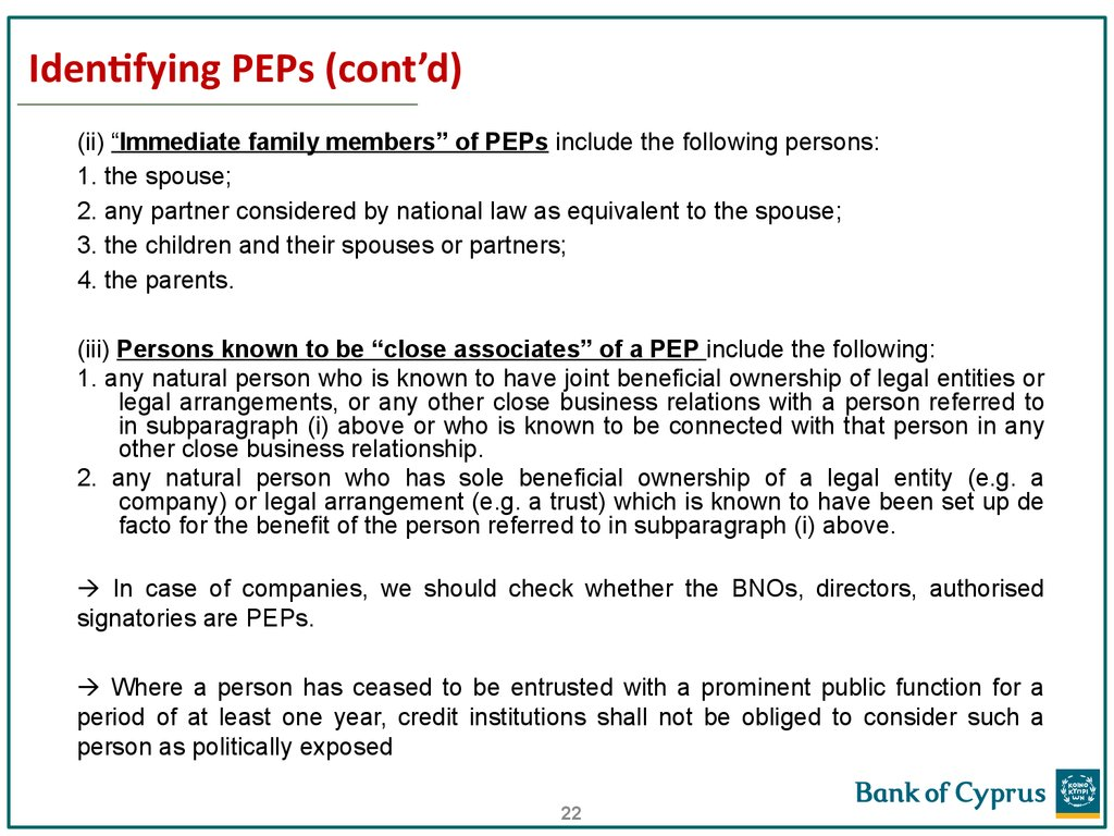 Identifying PEPs (cont'd)