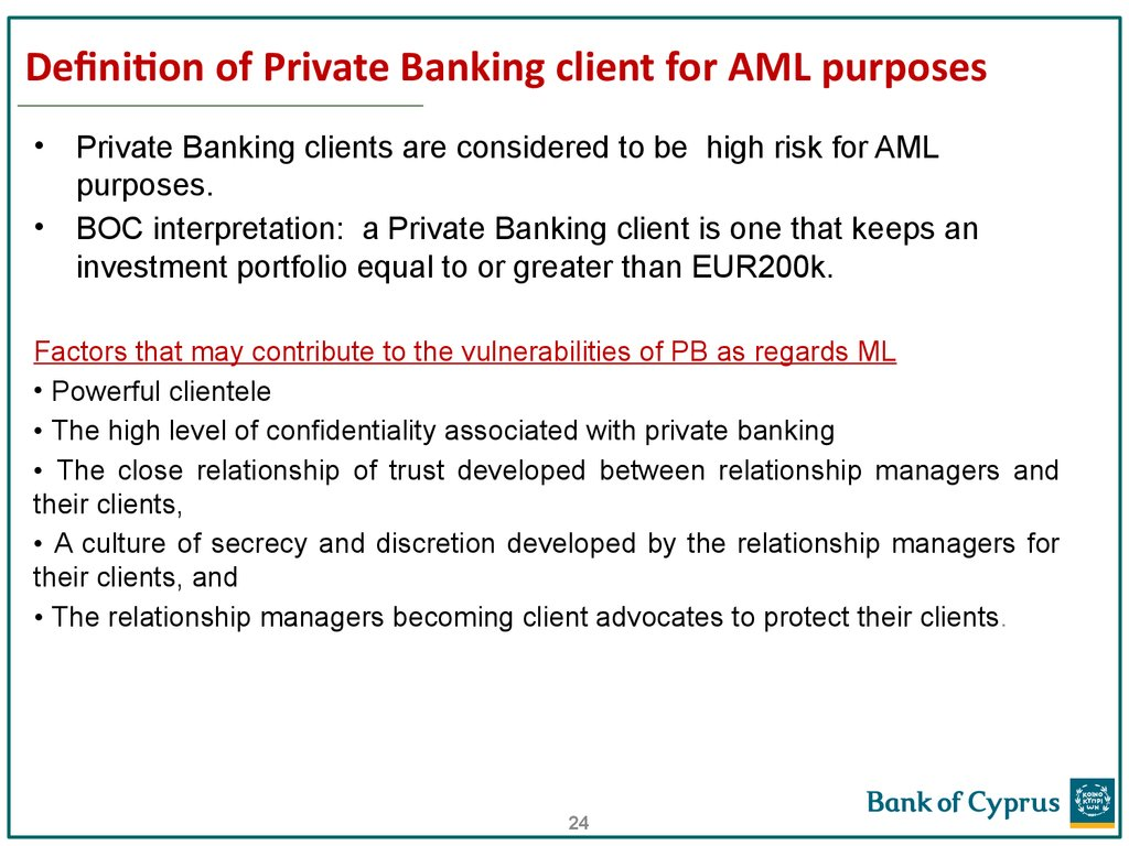 Definition of Private Banking client for AML purposes