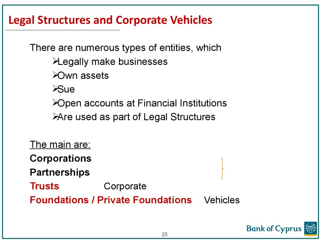 Legal Structures and Corporate Vehicles