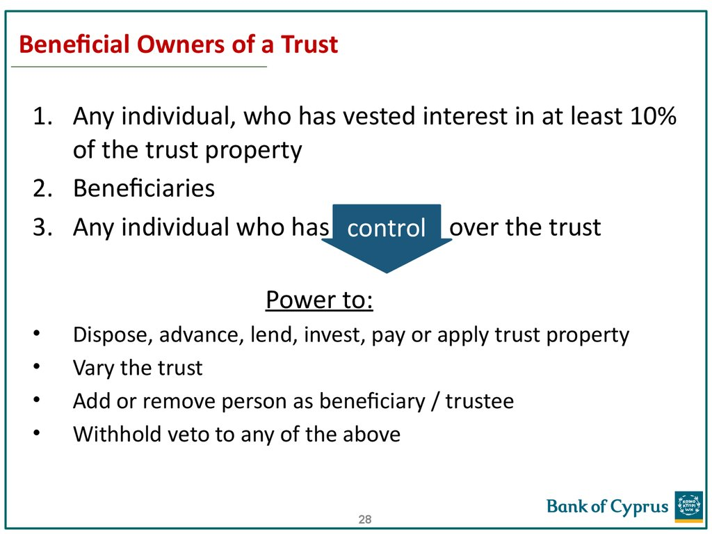 Beneficial Owners of a Trust