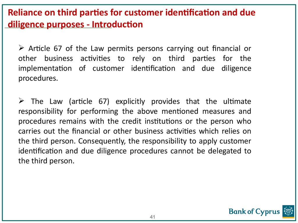 Reliance on third parties for customer identification and due diligence purposes - Introduction