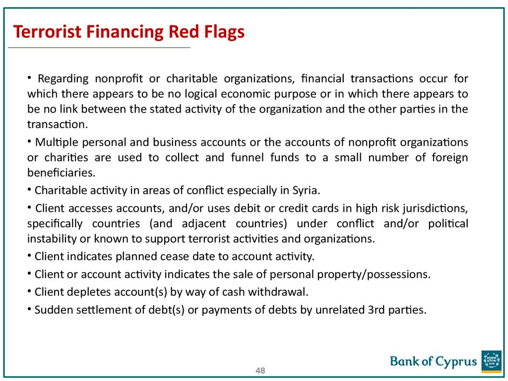 Terrorist Financing Red Flags