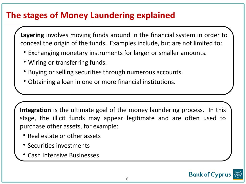 The stages of Money Laundering explained