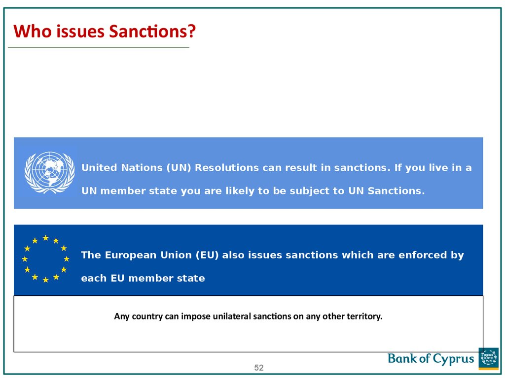 Who issues Sanctions?