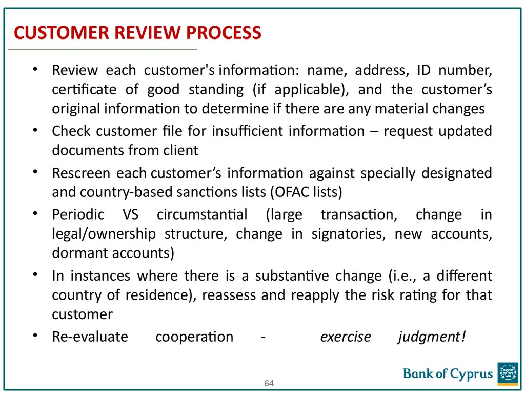 CUSTOMER REVIEW PROCESS