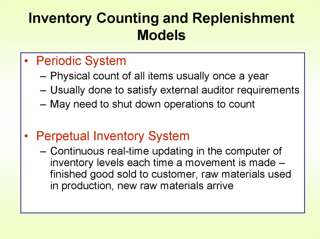 Inventory management  Chapter 12 - online presentation