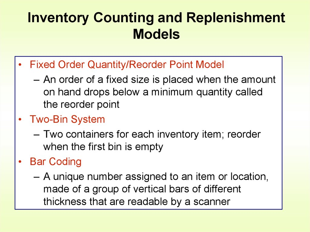 inventory and order quantity Stock re-ordering 38 247 the economic order quantity (eoq) 38-39 248 cyclical provisioning 249 stock taking and stock checking 39 39 2491 inventories ordered in large quantities can result in lower freight charges and price discounts on the other hand, inventory requires tying up.
