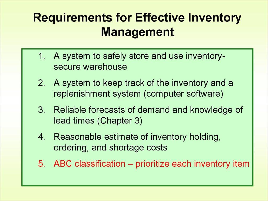 Inventory management  Chapter 12 - online presentation