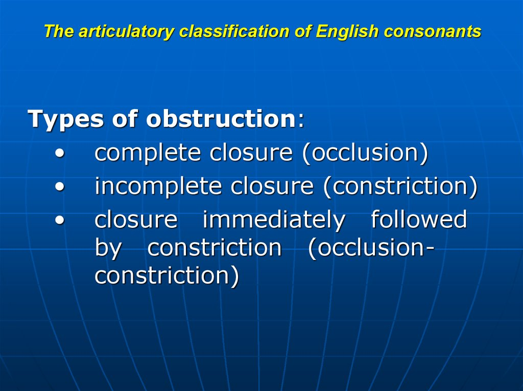 The articulatory classification of English consonants (place of obstruction)