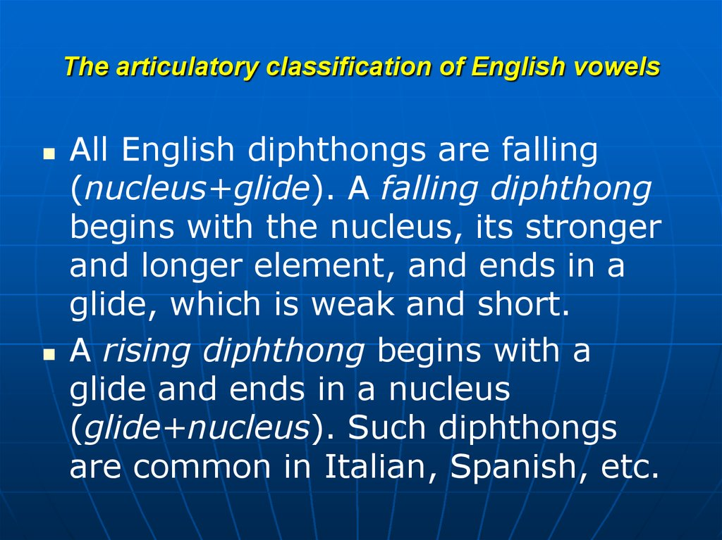 The articulatory classification of English vowels
