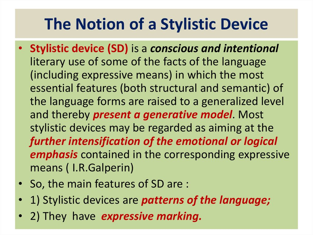 The Notion of a Stylistic Device