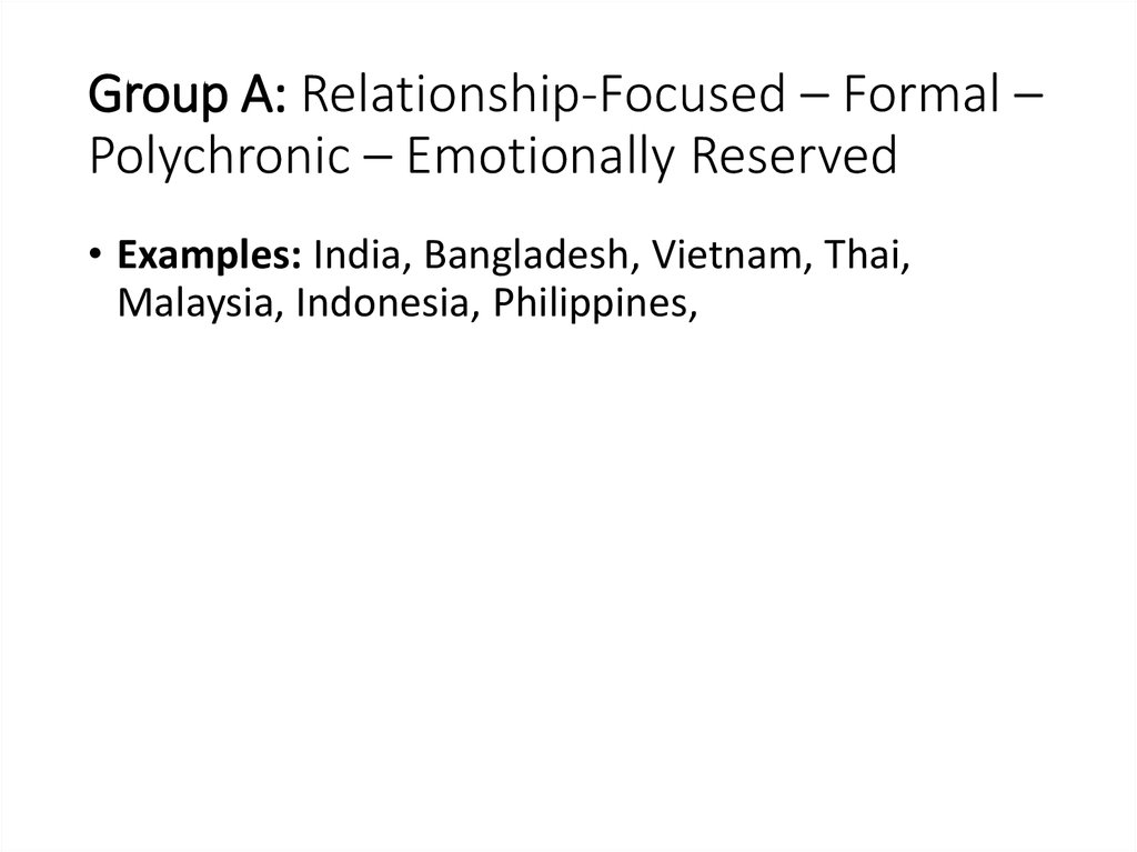 Group A: Relationship-Focused – Formal – Polychronic – Emotionally Reserved