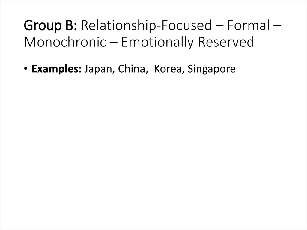 Group B: Relationship-Focused – Formal – Monochronic – Emotionally Reserved