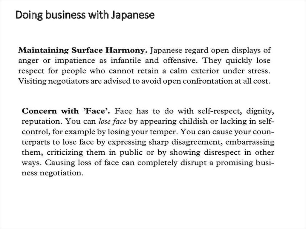 Doing business with Japanese