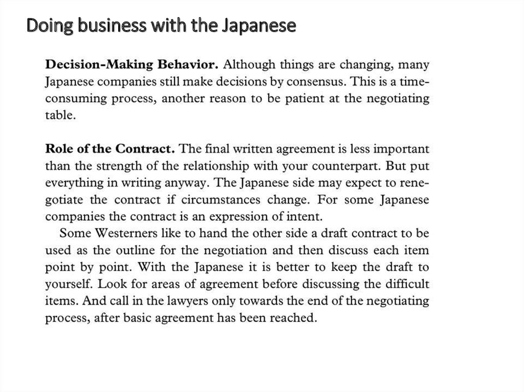 Doing business with the Japanese