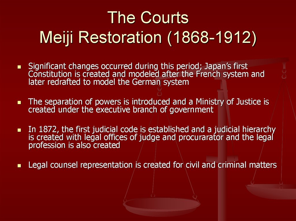 The Courts Meiji Restoration (1868-1912)