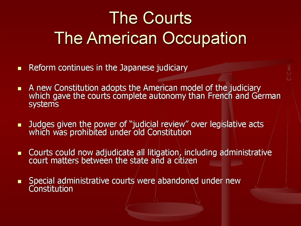 The Courts The American Occupation