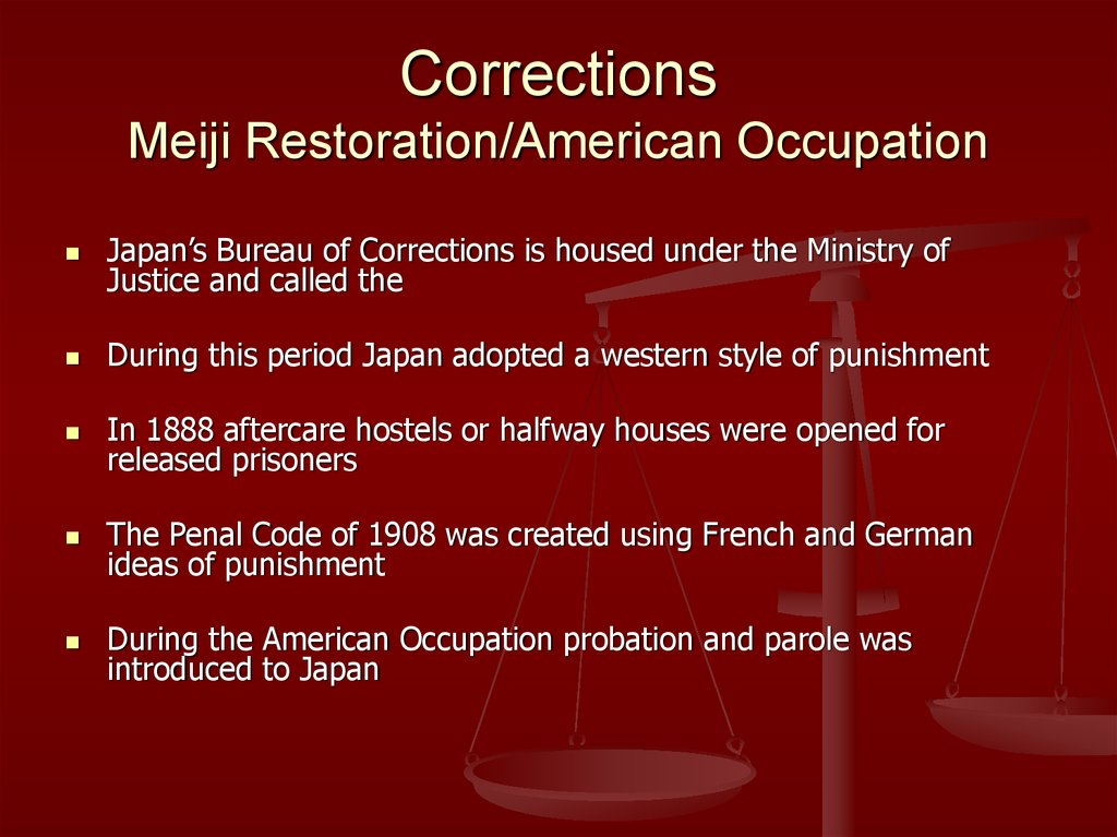 Corrections Meiji Restoration/American Occupation