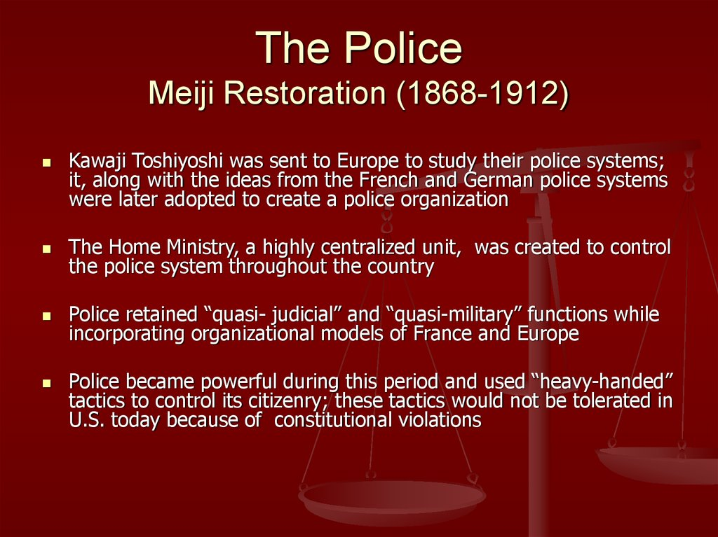 The Police Meiji Restoration (1868-1912)