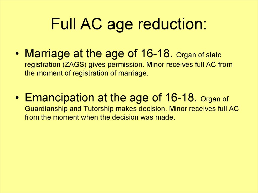 Full AC age reduction: