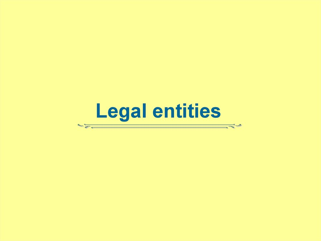 Legal entities