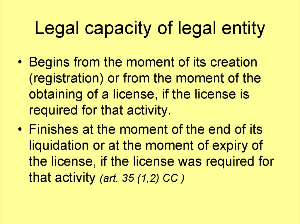 Legal capacity of legal entity
