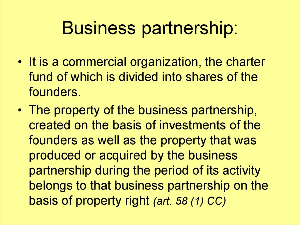Business partnership: