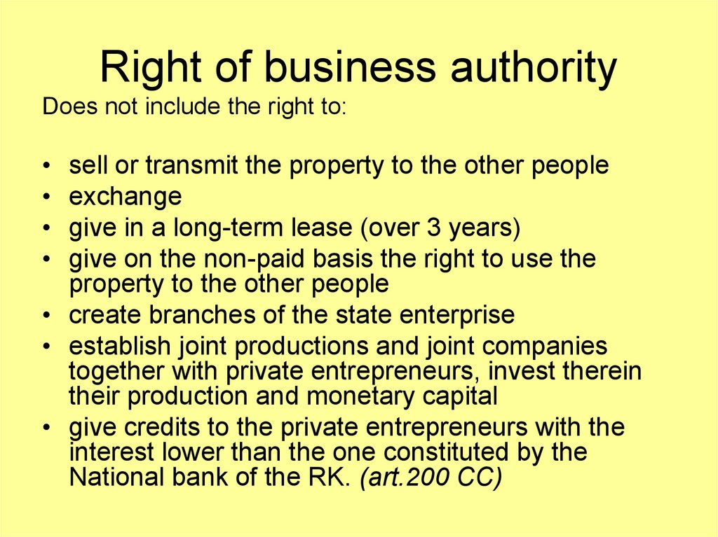 Right of business authority