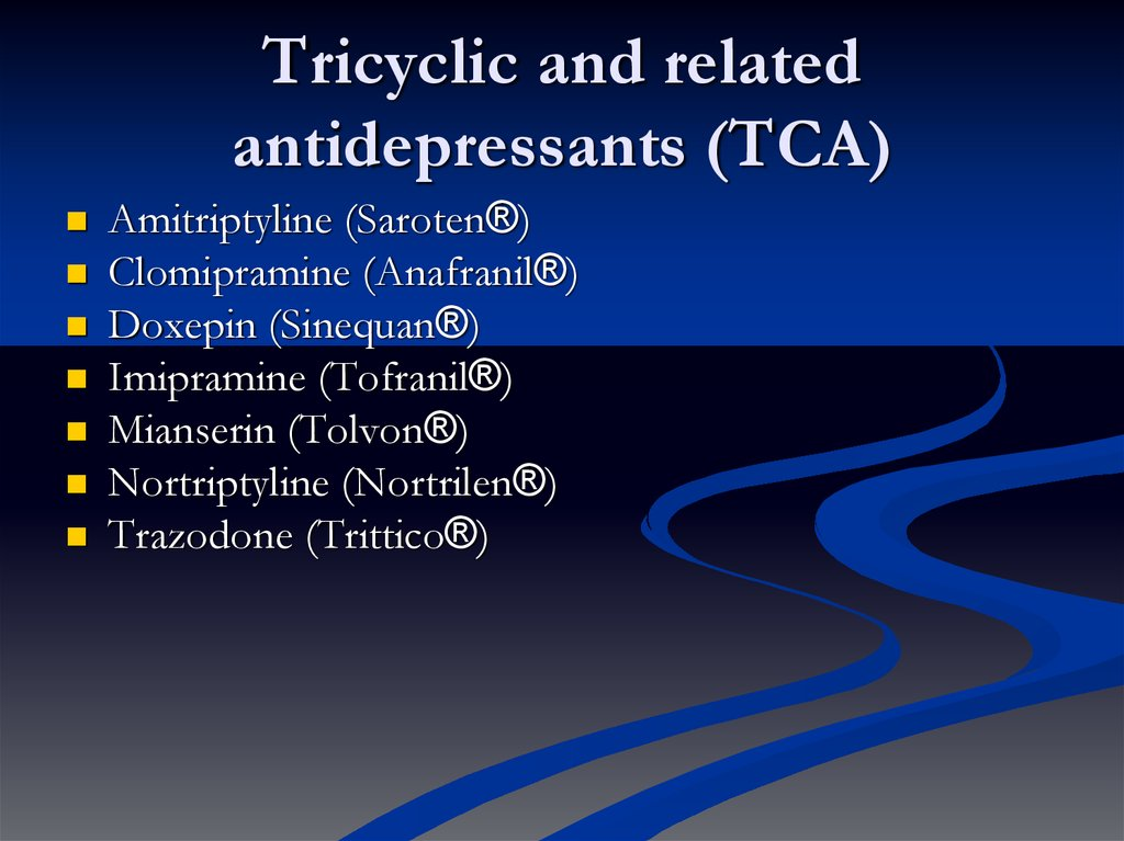 most sedating tricyclic antidepressants Drugs to avoid in the elderly tricyclic antidepressants, and tricyclic antidepressants and sedating antihistamines,.