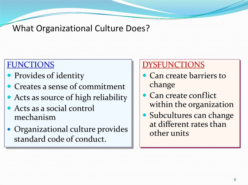 functional and dysfunctional effects of organizational culture on employees Functional and dysfunctional effects of organizational culture on employees organizational culture essay organizational culture is a complex concept including many different meanings.