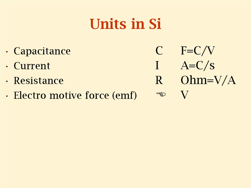 Units in Si