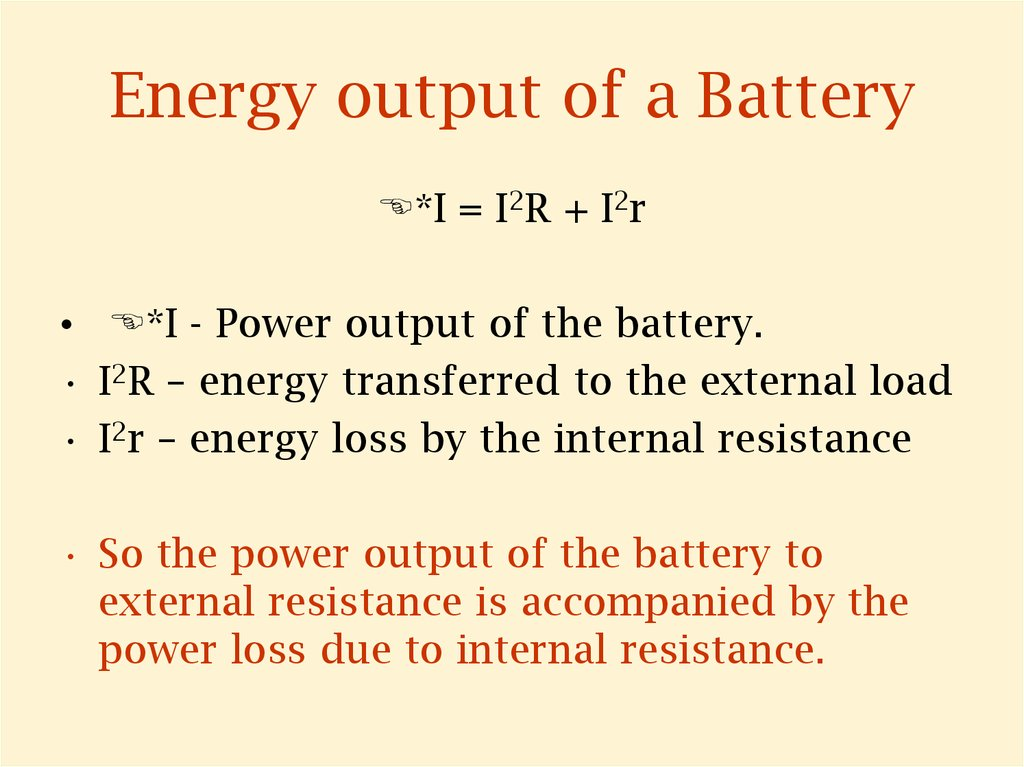 Energy output of a Battery