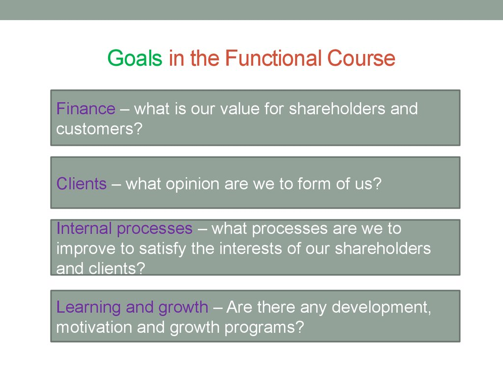 Goals in the Functional Course