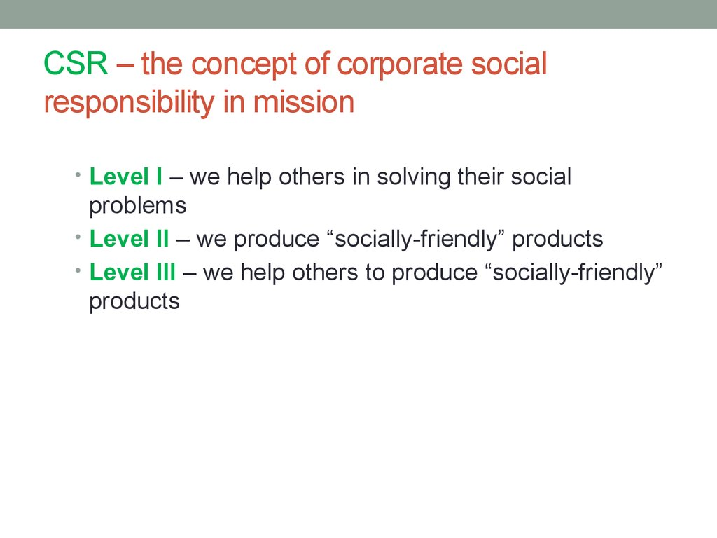 CSR – the concept of corporate social responsibility in mission