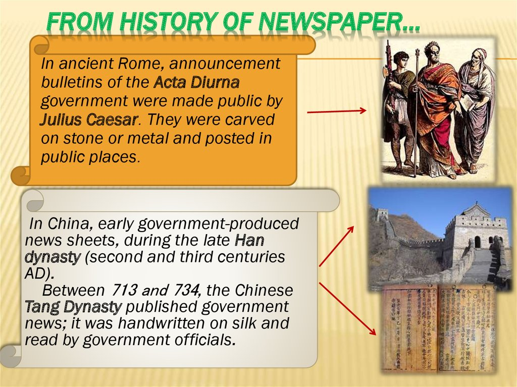 From history of newspaper…