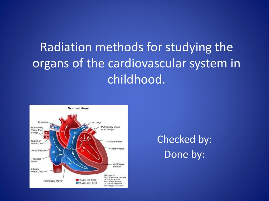 Radiation methods for studying the organs of the cardiovascular ...