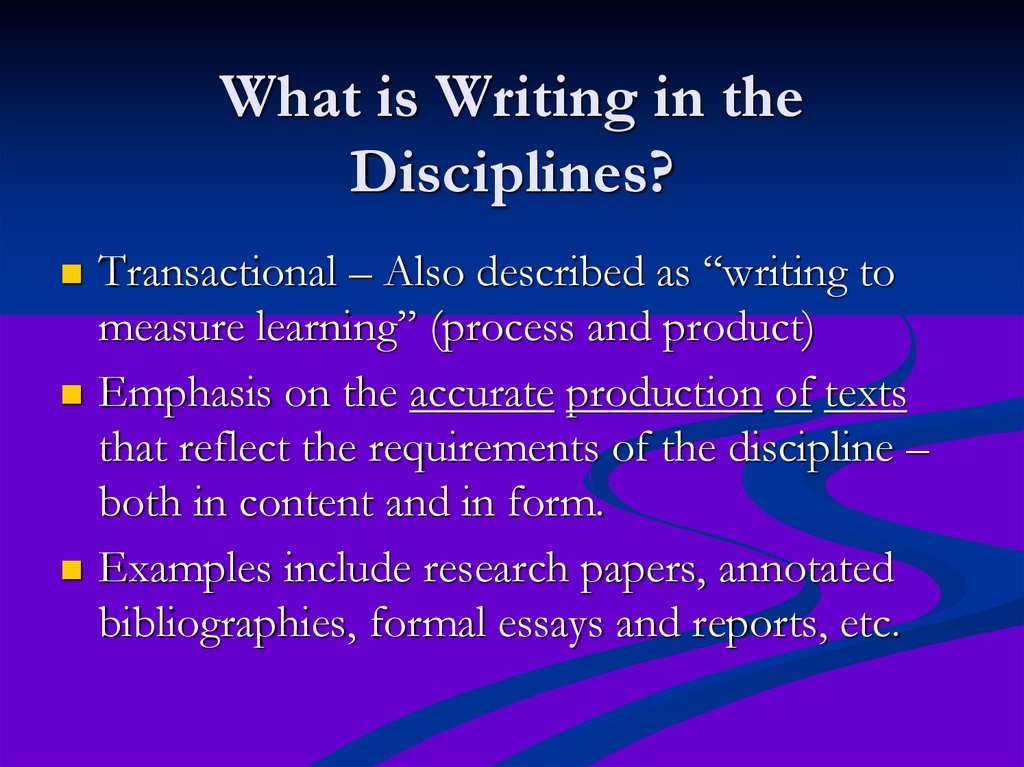 writing in the disciplines In addition to discipline-specific formats, other kinds of writing assignments can help students learn the language and ways of thinking of a discipline, even though they may not mimic its student writing in the quantitative disciplines: a guide for college faculty indianapolis, in: jossey bass.