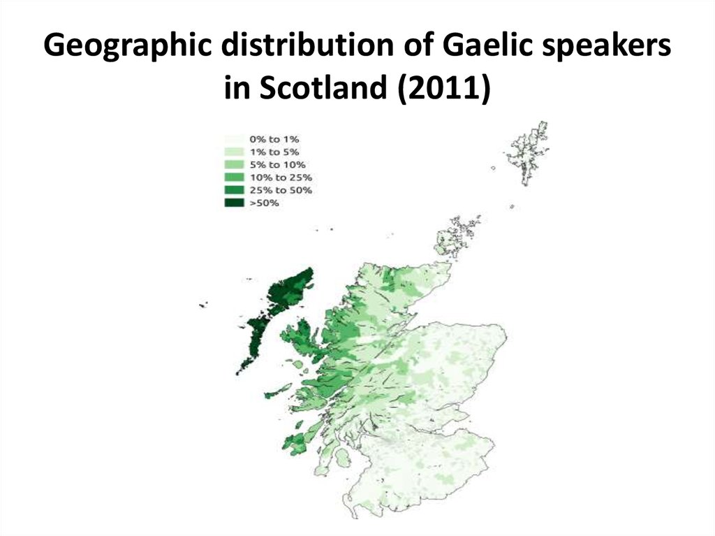 Geographic distribution of Gaelic speakers in Scotland (2011)