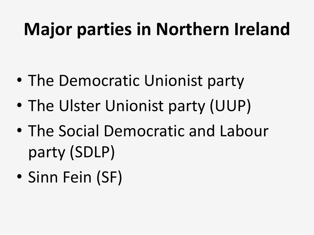 Major parties in Northern Ireland